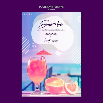 Zomer cocktail poster sjabloon