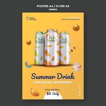 Zomer drinkt pure verfrissing blikjes poster