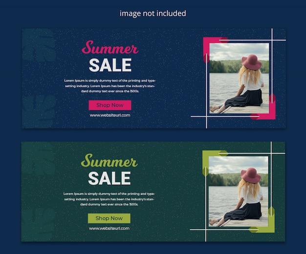Zomer mode verkoop nieuw seizoen social media facebook tijdlijn cover en social media banner sjabloonontwerp