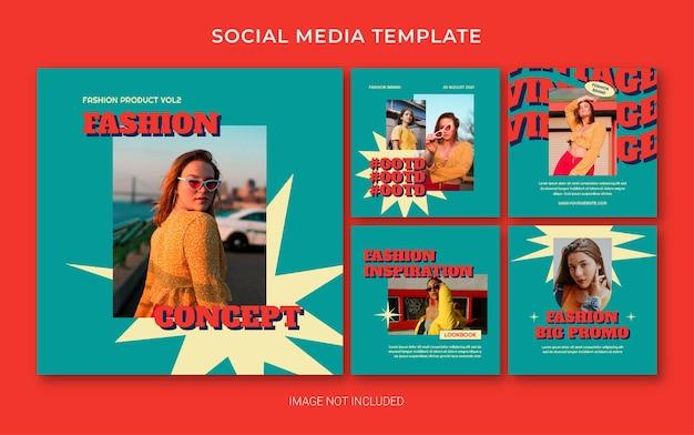 Zomer retro mode social media post banner lay-out