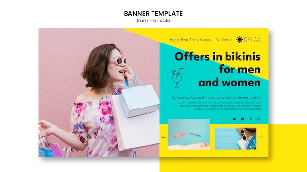 Zomer verkoop banner sjabloon concept