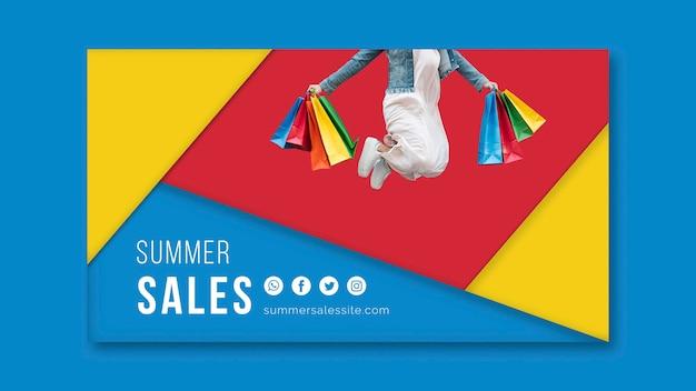 Zomer verkoopsjabloon banner met kleurrijke driehoekige vormen