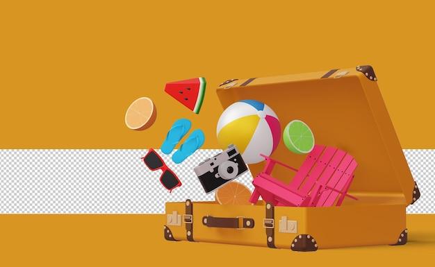Zomeraccessoire in koffer zomerseizoen 3d-rendering