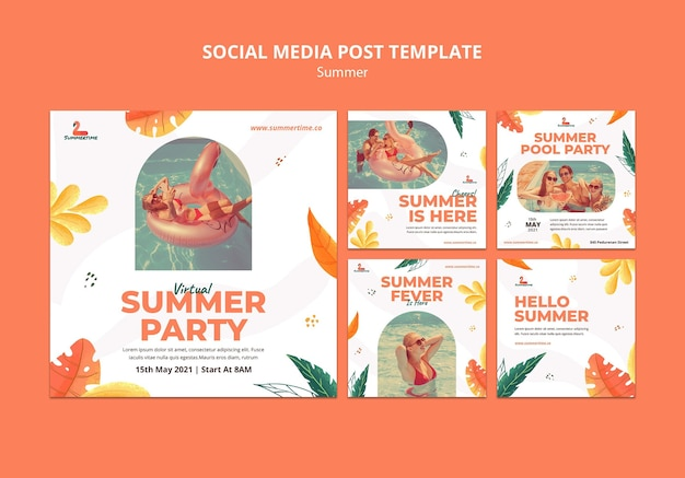 Zomerfeest sociale media post-sjabloon Gratis Psd