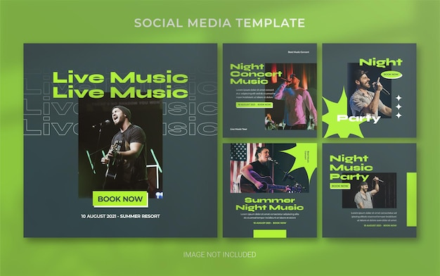 Zomermuziekconcert retro social media post banner layout