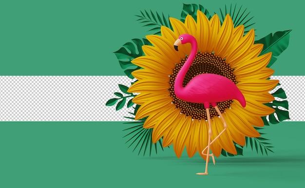 Zomeruitverkoop flamingo met zonnebloemdisplay