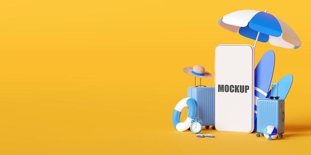 Zomervakantie concept met smartphone mockup