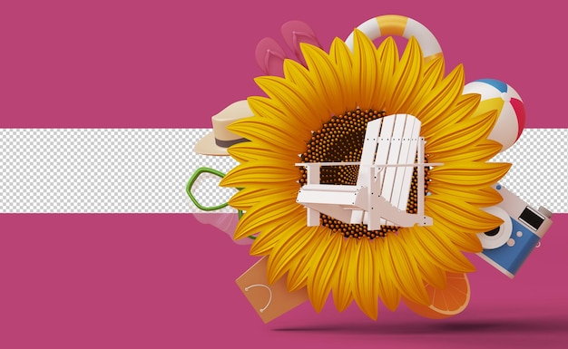 Zomerverkoopsjabloon, zomerseizoen, 3d-rendering weergeven