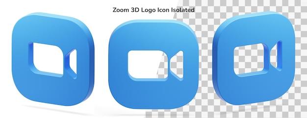 Zoom 3d logo pictogram geïsoleerd render element isometrische vlotter