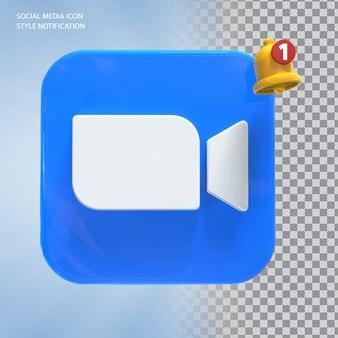 Zoompictogram voor sociale media met belmelding 3d