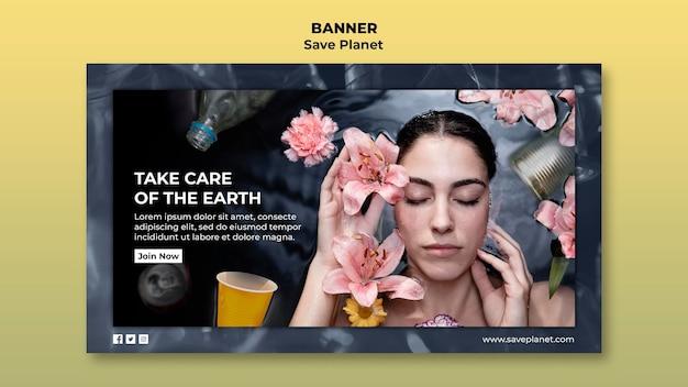 Zorg voor de sjabloon voor de aarde-banner