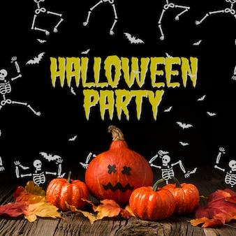 Zucche di halloween e disegno scheletro