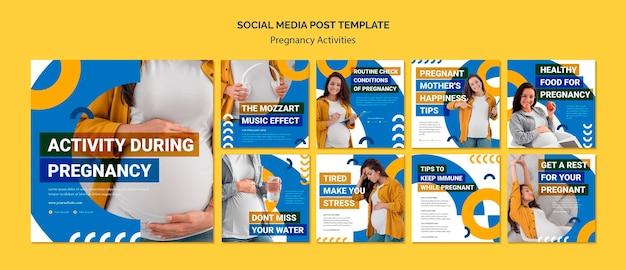 Zwangerschapsactiviteiten sociale media postsjabloon
