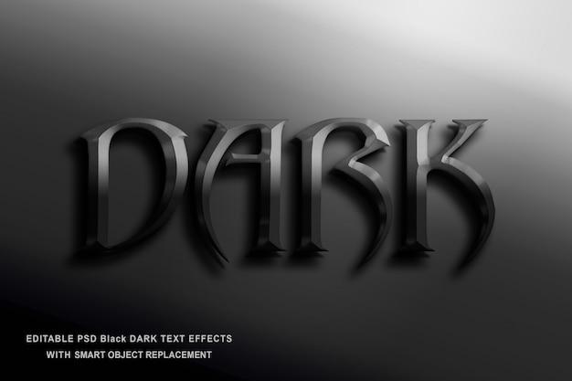 Zwart donker teksteffect