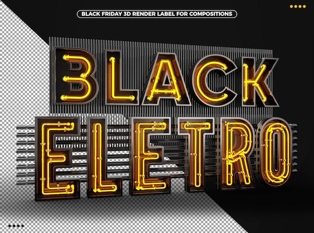 Zwart eletro 3d-logo met gele neon voor composities
