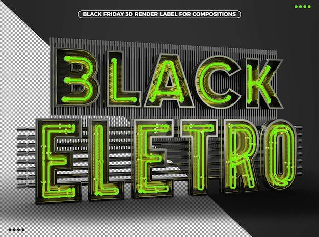 Zwart eletro 3d-logo met groene neon voor composities