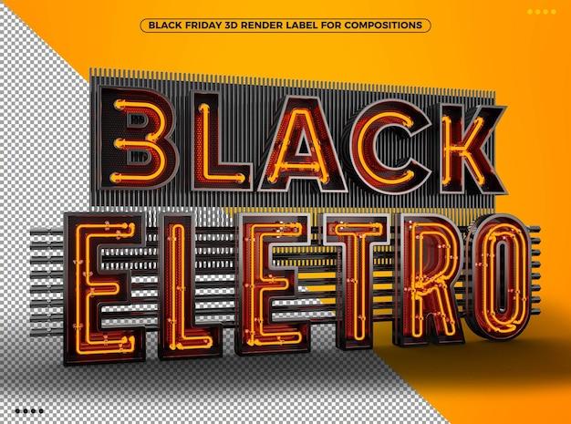 Zwart eletro 3d-logo met oranje neon voor composities