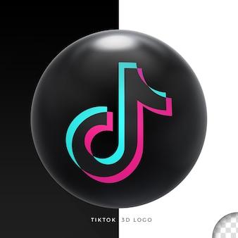 Zwart ellips 3d logo tik tok ontwerp