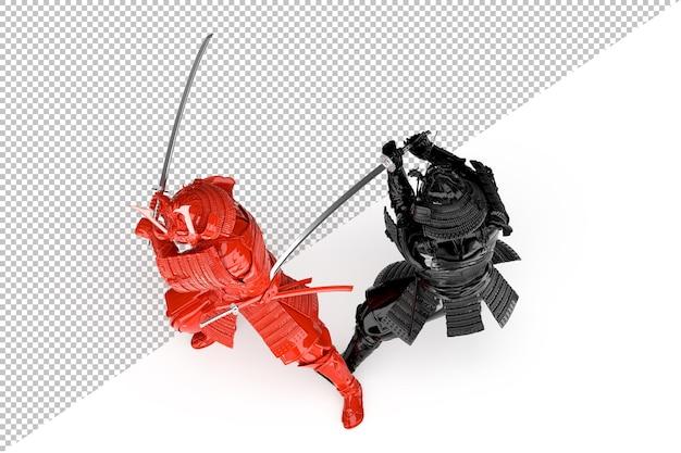 Zwart en rood vechtende samoeraienstrijders. geïsoleerd. 3d-rendering