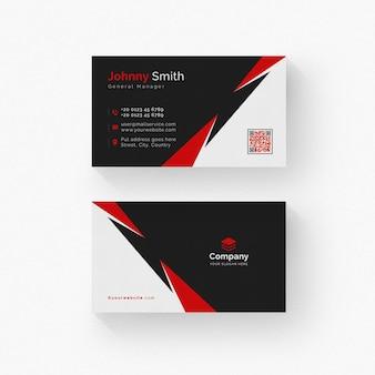 Zwart en wit visitekaartje met rode details