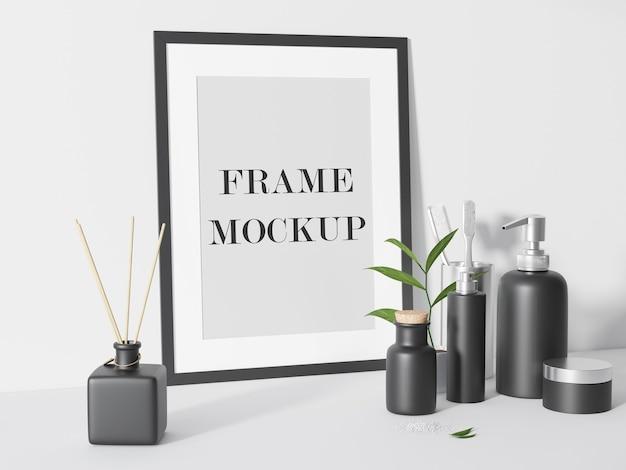 Zwart fotolijstje leunend tegen muur 3d-rendering mockup