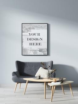 Zwart fotolijstmodel op grijze muur in moderne kamer