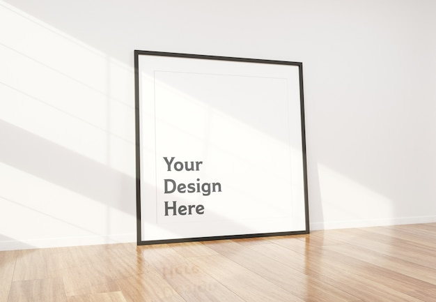 Zwart frame leunend in interieur mockup