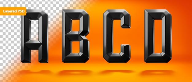 Zwart glanzend alfabet met scherpe vorm