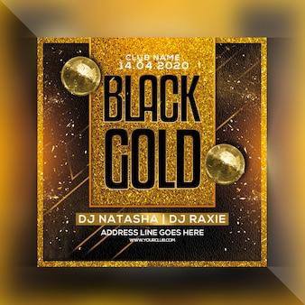 Zwart goud nachtfeest flyer