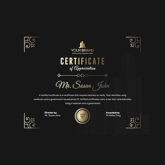 Zwart gouden zakelijke certificaatsjabloon