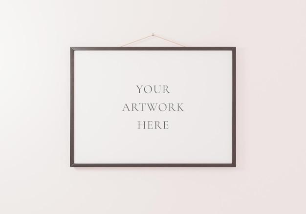 Zwart horizontaal framemodel dat op een witte muur hangt. 3d-rendering.