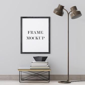 Zwart houten frame op muur 3d teruggevend model