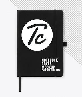 Zwart lederen notitieboek omslag met elastische mockup voor jouw ontwerp
