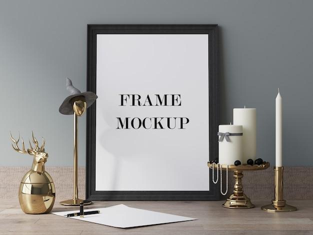 Zwart leeg afbeeldingsframe naast kaarsen 3d-rendering mockup