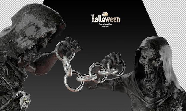 Zwart metalen grim reaper karakter bedrijf cirkel ketting 3d render spook standbeeld