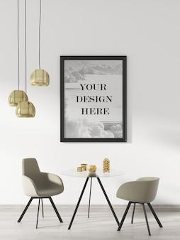 Zwart muurframe mockup in interieur versierd met meubels en plafondlampen