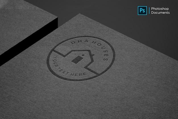 Zwart papier logo mockup ontwerpsjabloon