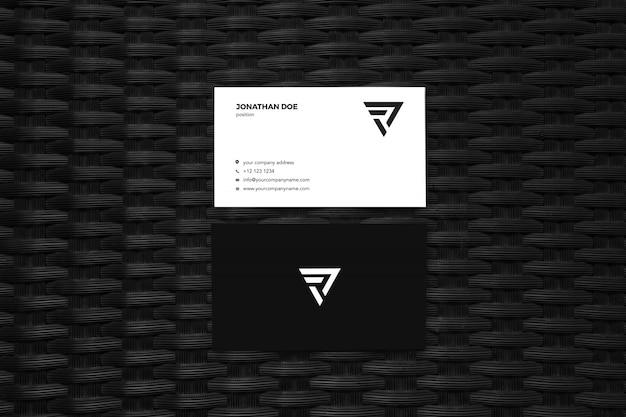 Zwart patroon oppervlak verticaal visitekaartje mockup