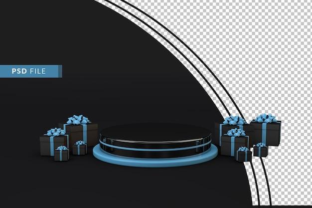 Zwart podium met geschenken een concept van cybermaandag