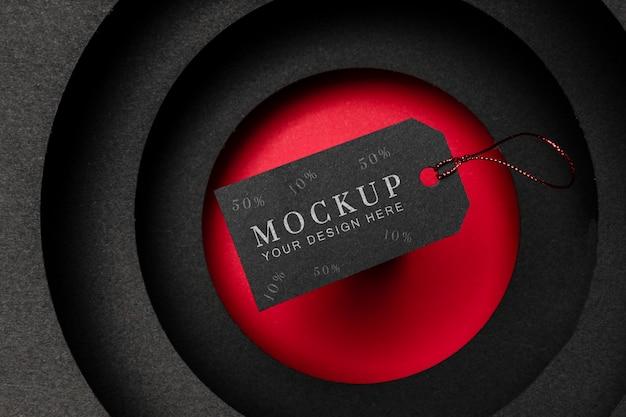 Zwart prijskaartje zwarte vrijdag verkoop mock-up