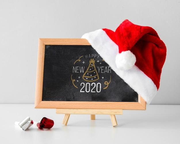 Zwart schoolbordmodel met kerstmuts