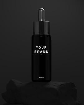 Zwart serum huidverzorging realistische mockup