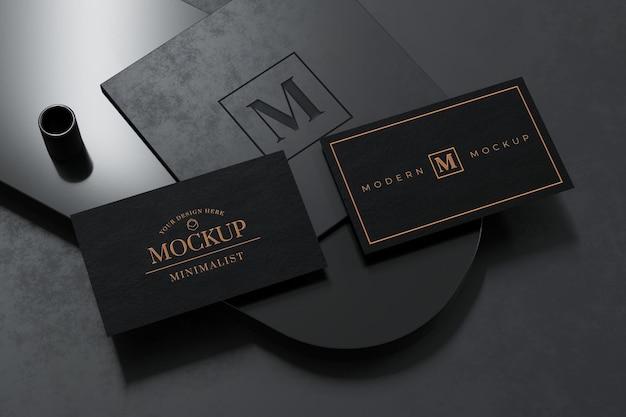 Zwart visitekaartje mockup-ontwerp in 3d-rendering
