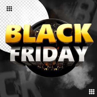 Zwart vrijdag 3d logo met ronde vuurbasis