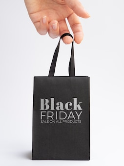 Zwart vrijdag concept tas mock-up
