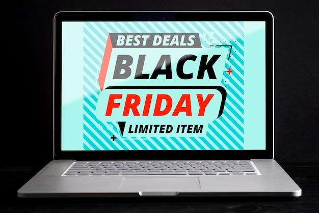 Zwart vrijdag laptop mock-up concept