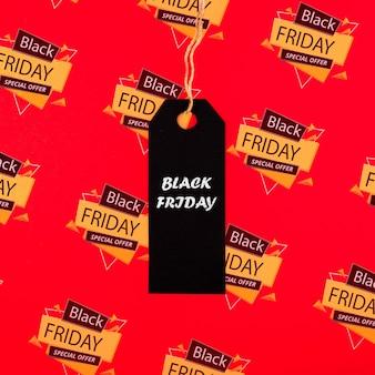 Zwart vrijdagconcept met prijskaartje