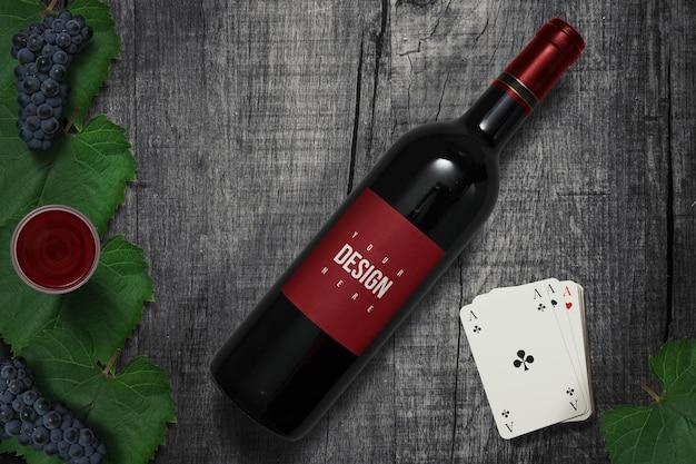 Zwart wijn en kaartmodelontwerp
