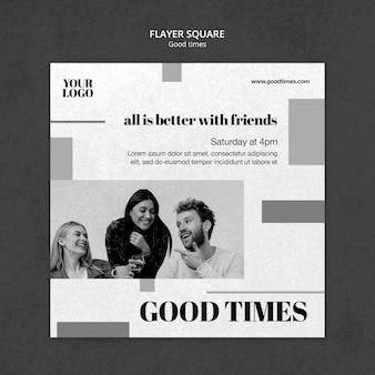 Zwart-wit goede tijden kwadraat flyer-sjabloon