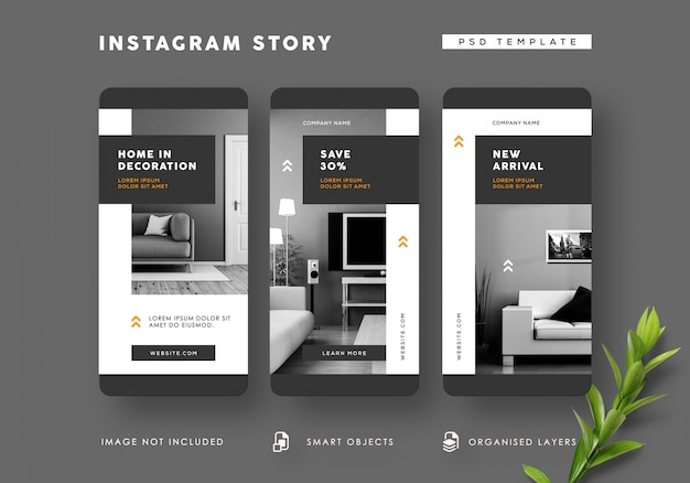 Zwart-wit interieur instagram verhalen sjabloon